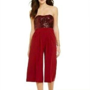 GB Sweetheart Strapless Sequin Burgundy Jumpsuit